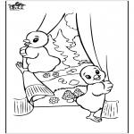 Coloriage thème - Poussins de Pâques 2
