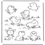Coloriages d'animaux - Poussins