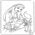 Coloriages faits divers - Princesse avec chat