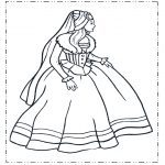 Coloriages faits divers - Princesse en robe