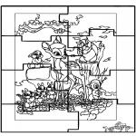 Bricolage coloriages - Puzzle Bambi