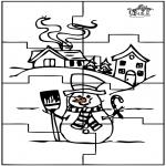 Bricolage coloriages - Puzzle bonhomme de neige