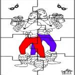 Coloriage thème - Puzzle - Carnaval