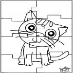 Bricolage coloriages - Puzzle chat