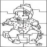 Coloriage thème - Puzzle de bébé