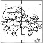 Bricolage coloriages - Puzzle - Dora