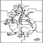 Bricolage coloriages - Puzzle - Dragon