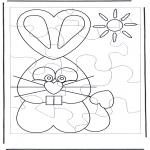 Coloriage thème - Puzzle du Lapin de Pâques 1
