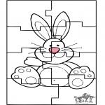 Coloriage thème - Puzzle du Lapin de Pâques 3