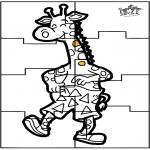 Bricolage coloriages - Puzzle girafe