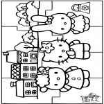 Bricolage coloriages - Puzzle - Hello Kitty