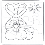 Bricolage coloriages - Puzzle lapin