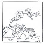 Coloriages d'animaux - Raton laveur et colibri
