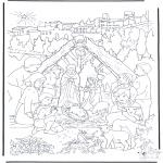 Coloriages Noël - Regarder à la crèche de Noël