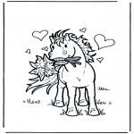 Coloriage thème - Saint-Valentin - cheval