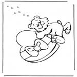 Coloriage thème - Saint-Valentin - ours 2