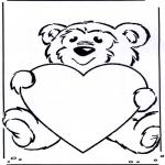 Coloriage thème - Saint-Valentin - ourson
