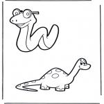 Coloriages d'animaux - Serpent et dinosaure