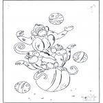 Coloriages d'animaux - Singes sur balles