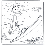 Coloriages hiver - Snowboarding