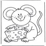 Coloriages d'animaux - Souris avec fromage