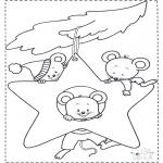 Coloriages d'animaux - Souris dans l'étoile de Noël