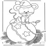 Coloriages hiver - Souris sur la boule de Noël