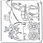 Coloriages pour enfants - Sur le char de foin