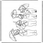 Coloriages pour enfants - Télétubbies avec parapluie