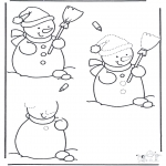 Coloriages hiver - Termine le dessin du bonhomme de neige