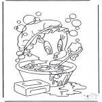 Personnages de bande dessinée - Titi dans la baignoire
