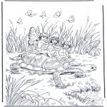 Coloriages d'animaux - Tortue avec des elfes