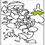 Coloriages hiver - Traîneau 2