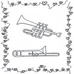 Coloriages faits divers - Trompette et trombone