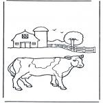 Coloriages d'animaux - Vache à la ferme