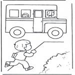 Coloriages pour enfants - Vers le car scolaire