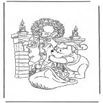 Coloriages Noël - Winnie l'Ourson à Noël