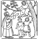 Coloriages Bible - Zachée et Jésus